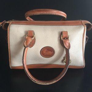 Dooney and Bourke Ivory/Brown Satchel Bag